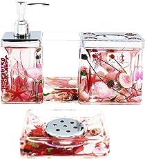 eumat Ocean Series Badezimmer Organizer Set Acryl 4PCS Badezimmer waschen Zubehör Set mit Rot Farbe Blatt und Muscheln