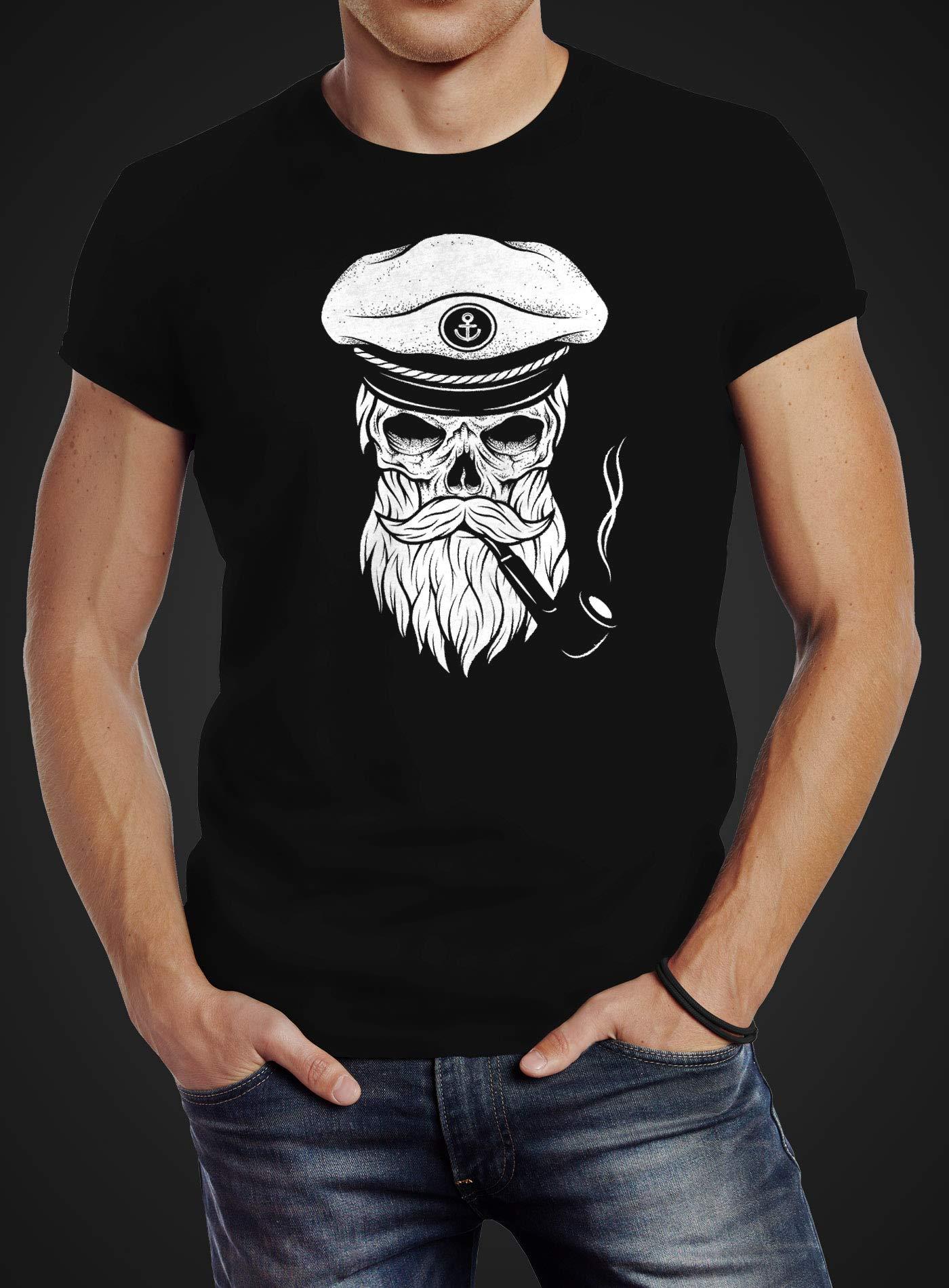 Damen T-Shirt Totenkopf Kapitän Captain Skull Bard Hipster Seemann Neverless®