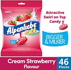 Alpenliebe Gold Candy, Cream Strawberry Flavour, 184g (46 Units * 4g Each)