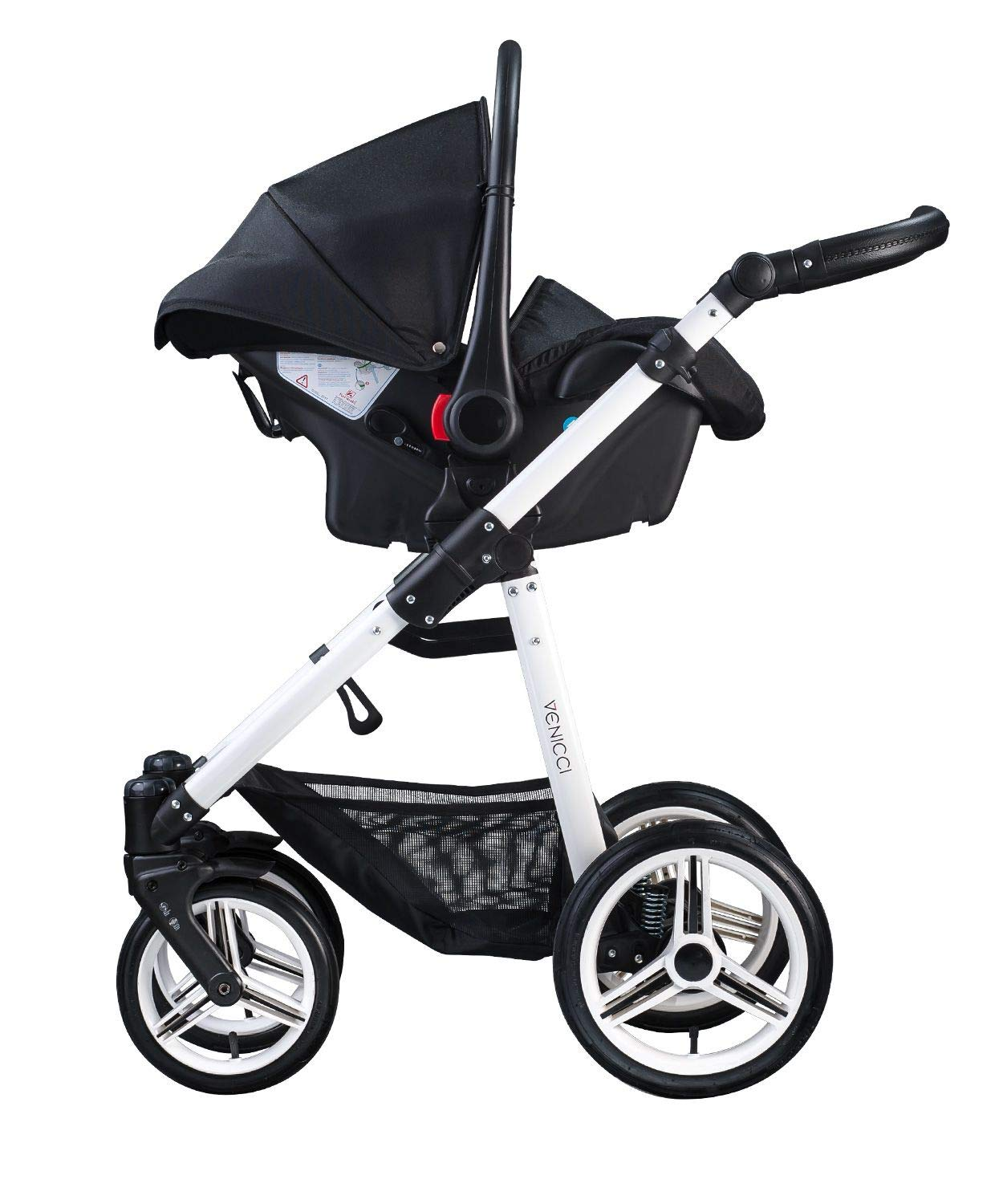 Venicci Soft Vento 3-in-1 Travel System - Black/White - with Carrycot + Car Seat + Changing Bag + Footmuff + Raincover + Mosquito Net + 5-Point Harness and UV 50+ Fabric + Car Seat Adapters  3 in 1 Travel System with included Group 0+ Car Seat Suitable for your baby from birth until 36 months 5-point harness to enhance the safety of your child 4