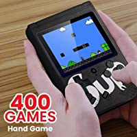 Roqer Colourful LCD Screen USB Rechargable Portable SUP Handheld Classic Retro Video Gaming Player Game Console with 400 in 1 Classic Old Games (Black)