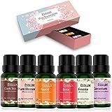 Aceites Esenciales Naturales,ESSLUX Flores Aceites Esenciales para Humidificador Difusor Top 6 Set Natural Puro, Neroli, Gera