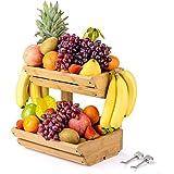 Sunix Corbeille a Fruits en Bois, Support à Panier de Fruits en Bambou Étagères, Support de Rangement 2 Niveaux pour Fruits,