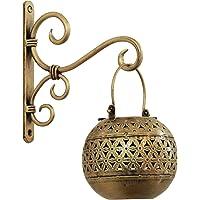 Satyam Crafts Handi Diya Lantern with Hanger- Handmade Antique Polish Wall Decor Piece(LxBxH-20x18x2 cm &12×11 cm) Set of 1