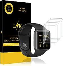 LK Apple Watch Schutzfolie, Liquid Skin [6 Pack 42mm Series 1,Series 2,Series 3], [Vollständige Abdeckung] [Blasenfreie] HD klar Flexible Folie for Apple Watch Schutzfolie, 42mm Serial 1 / Serial 2 / Serial 3.