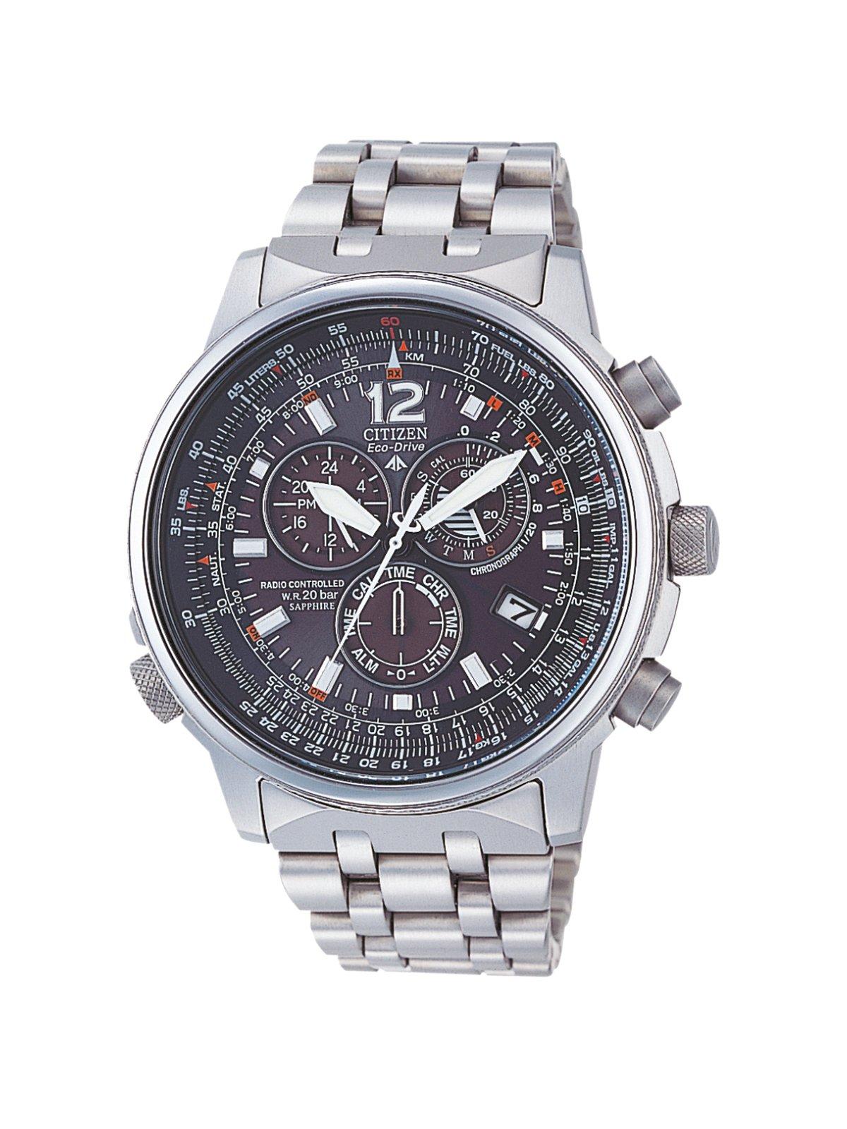 Citizen AS4050-51E - Reloj cronógrafo Ecodrive para hombre, correa de titanio color plateado 1