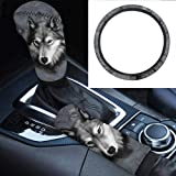 Belidome Gray Wolf Animal Design Decorations for Car Steering Wheel + Hand Brake Handle + Grear Shift Covers