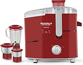 Maharaja Whiteline Desire Red Treasure 550-Watt Juicer Mixer Grinder (Red/Silver)