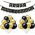 "Rozi Decoration® ""Happy Anniversary"" Banner with 50 Pcs Mattelic Balloon (66Pcs Combo- HA Banner with 50 Mattelic Balloon BG)"