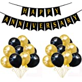 "Rozi Decoration® ""Happy Anniversary"" Banner with 50 Pcs Mattelic Balloon (66Pcs Combo- HA Banner with 50 Mattelic Balloon BG)"