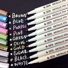 BZLine Metallic Marker Pens, Satz von 10 Farben für Kartenherstellung DIY Fotoalbum Gebrauch auf irgendeiner Oberfläche-Papier Glas Kunststoff Keramik