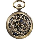 JewelryWe Reloj de bolsillo automático para hombre clásico con colgante de dragón y fénix con cadena