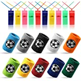 Kesote 10 x zweetband voetbal polsband (10 kleur) + 10 x fluitje plastic fluitje (kleur willekeurig) voor sport, voetbalverja