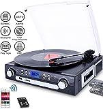 DIGITNOW! Giradischi con Altoparlanti Stereo,a Tre Velocità Bluetooth Vinile Giradischi con USB/SD/MMC per codifica/AM/FM stereo radio/cassette tape/Aux in