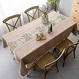 Pahajim Elegantes Impresos Mantel Lino con Estilo ChinoMantel Antimanchas Rectangular Mantel Decorativo para Reuniones Famili