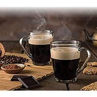 Golden Bird International Crystal Clear Toughened Glass Coffee Mug with Convenient Solid Handle Mug Set for Tea, Coffee…
