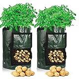 Cefrank Bolsas para Cultivo de Patatas, Bolsas para macetas con Ventana abatible y asa, hortalizas de Cultivo, Patata, Zanaho