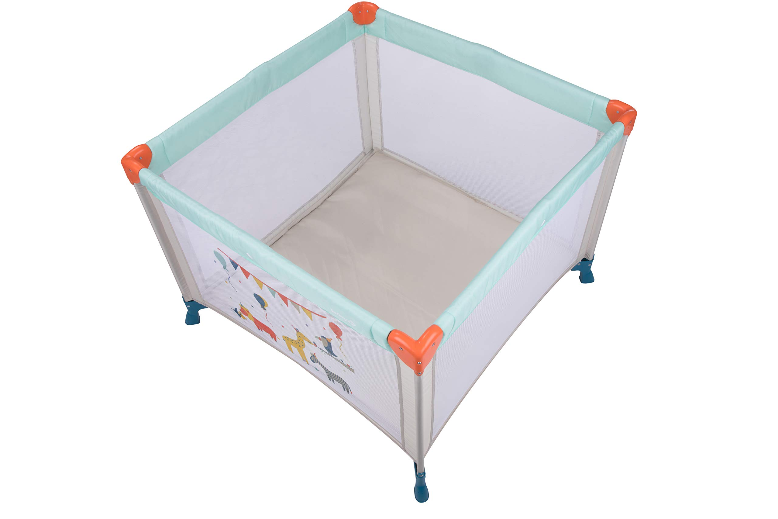 Safety 1st Circus Compact Travel Cot Safety 1st Spacious play area (1 m x 1 m) 2 uses: in playpen or in travel bed 4 large windows nets to see baby 2
