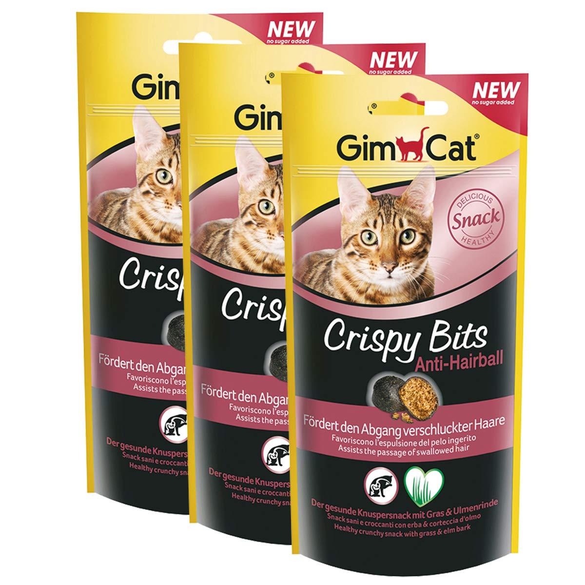 GimCat Crispy Bits – Snack crujiente de carne para gatos, con ingredientes funcionales – Sin azúcar añadido – Antibolas de pelo – 3 bolsas (3 x 40 g)