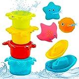 PHYLES Juguetes baño Bebe, Juguetes baño flotantes Coloridos, Juguetes bañera Bebe con 3 Animales Marinos con rociado de Agua