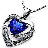 DEPHINI Blu Collana Cuore – 925 argento ciondolo a forma di cuore con zirconi bianchi e blu pietra abbellito con cristalli CZ