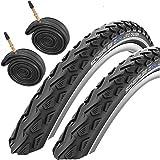 Pair Duro Cordoba 700 X 38c Reflective Bike Tyres with Presta Inner Tubes