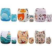 Alva Baby - Pannolini lavabili e riutilizzabili in tessuto, 6 pz, 12 inserti
