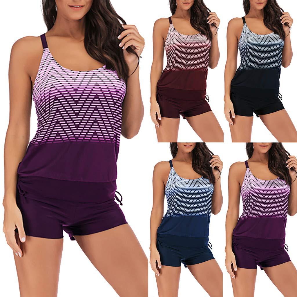 571426673cd8bf Jaysis Donna Costumi da Bagno Due Pezzi Tankini Top Stripe Stampa Costumi  da Bagno con Pantaloncini