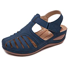 Sandals Womens Wedge Summer Ladies Leather Sandal Closed Toe Platform Shoes