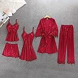 5pcs Pajama Set Women Casual Ladies Dressing Sleepwear Set With Chest Pad Pyjamas Lingerie Nightwear Set Homewear Suits(Black
