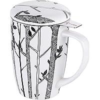 LOVECASA, Tasse avec Infuseur INOX, Mug en Porcelaine avec Couvercle, 450 ML
