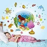 Decals Design 5706 StickersKart Wall Stickers Girls Room Underwater Mermaid and Creatures (Multicolor)