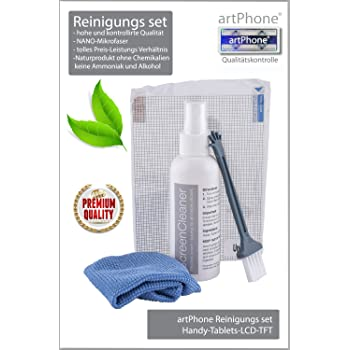 artPhone® Cleaner Set *4* parts Eco Friendly without chemicals (no ammonia and alcohol) for your Mobile,Tablets,Laptop,LCD, TFT screens, with 100ml cleaner liqued bottle with pump, NANO-cleaning cloth 180X150mm, small soft brush and Universal Screen Protector Gift 140x100mm