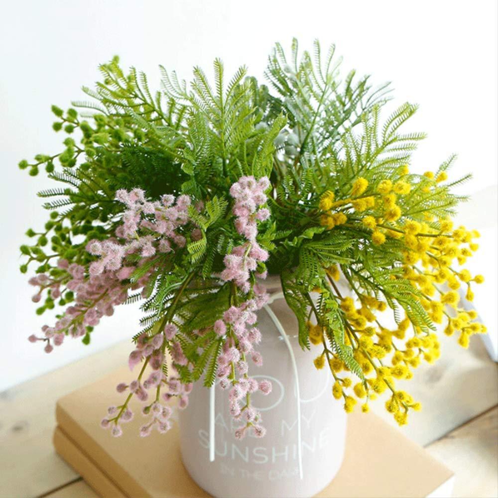 QYYDGH Retro Elegante Hermoso Flores Artificiales Manojos Acacia Novia Holding Bouquet Fluffy Plástico Helecho Planta…