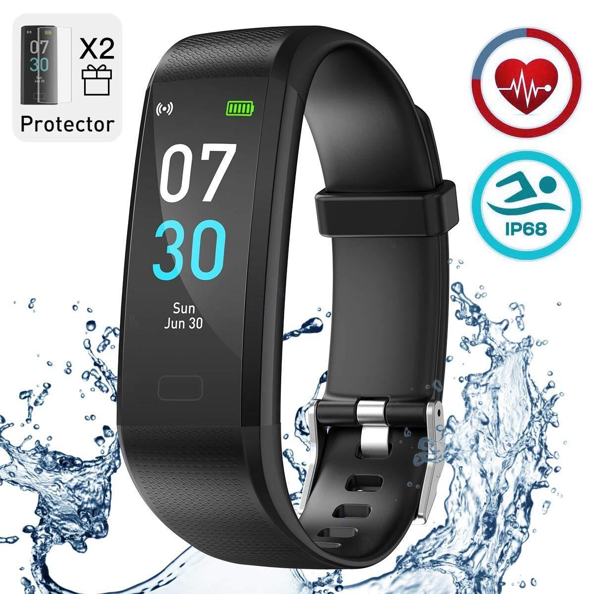 iWalker Smart Pulsera Fitness Tracker, Pulsera Actividad de Frecuencia Cardíaca, Impermeable IP68, Podómetro Deportiva… 1