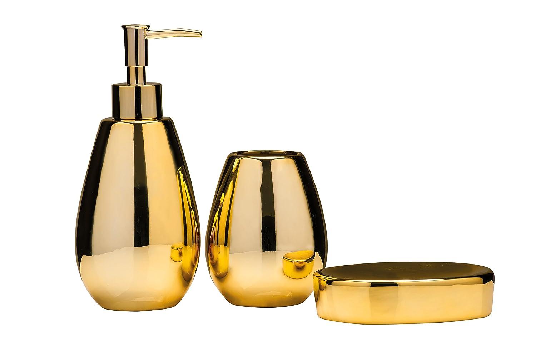 Gold bathroom sets - Premier Housewares Magpie Bathroom Set Set Of 3 Gold Amazon Co Uk Kitchen Home