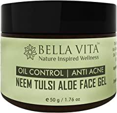 Oil Control Face Gel Moisturiser for Oily & Acne Prone skin, 50 grams | Anti-Acne | Neem Tulsi Aloe | Oil Free | Daily Moisturiser | Spot Treatment | All Skin Types | Face Gel | Natural | Unisex |