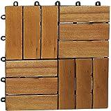 SAM Terrassenfliese 02 Akazien-Holz FSC® 100%, Einzelfliese 30x30 cm, Bodenbelag mit Drainage, Mosaik Klickfliesen