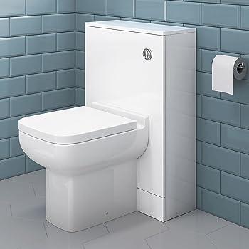 Back To Wall Toilet Pan /& White Unit BTW Rimless Seat WC Modern Bathroom