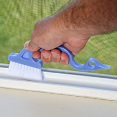 HOKIPO Multipurpose Cleaning Brush with Dust Dirt Scraper - For Sliding Windows Track, Bath Fittings (Random Colors)