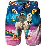RAISEVERN Summer Mens Fancy Print Hawaiian Boardshorts Casual Beach Pants Swim Trunk swith Mesh Lini for Holiday Wear Hawaii