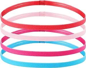 4 Pezzi Fasce per Capelli Sportive Elastiche Antiscivolo Spesse Fasce di Capelli per Donne e Uomo (Fluorescente Arancione, Blu, Rosa Rossa, Rosa)