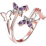Boowhol - Anello in argento Sterling 925, regolabile, con quattro farfalle e zirconi, colore: Viola