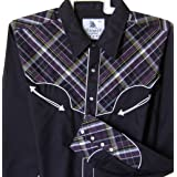 Modestone Men's Long Sleeved Fitted Western Shirt Checked Material Black