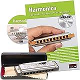 CASCHA Set Harmonica débutant avec méthode d'instruction française, apprendre à jouer de l'harmonica blues, avec étui, chiffo