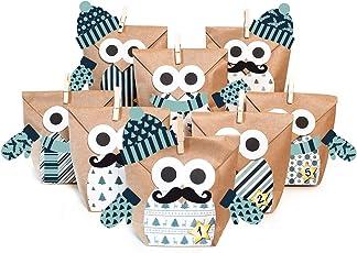 Pajoma DIY Adventskalender Bastelset Christmas Owl Blue mit Extras, 24 Kraftpapiertüten zum Basteln & Befüllen, kein Schneiden notwendig, Weihnachten