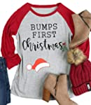 Women Bumps First Christmas O-Neck Baseball Plus Size T-Shirt Tees Tops