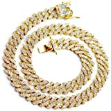 Beyond Just Basics Collana Cubana 20mm 47cm Lunghezza 18K Placcata Argento Strass AAA Simili a Diamanti… (White,Gold, 18,20)