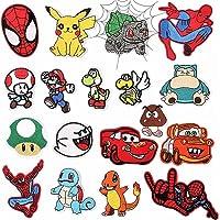 Toppe Termoadesive 18 Pezzi Spiderman ,Pokemon,Super mario Toppe per Vestiti Distintivo di Cucito Ricamato Cucito a Mano…