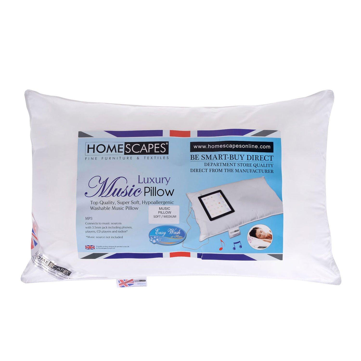 Ipod Pillow Homescapes Washable Music Pillow Top Quality Super Microfibre